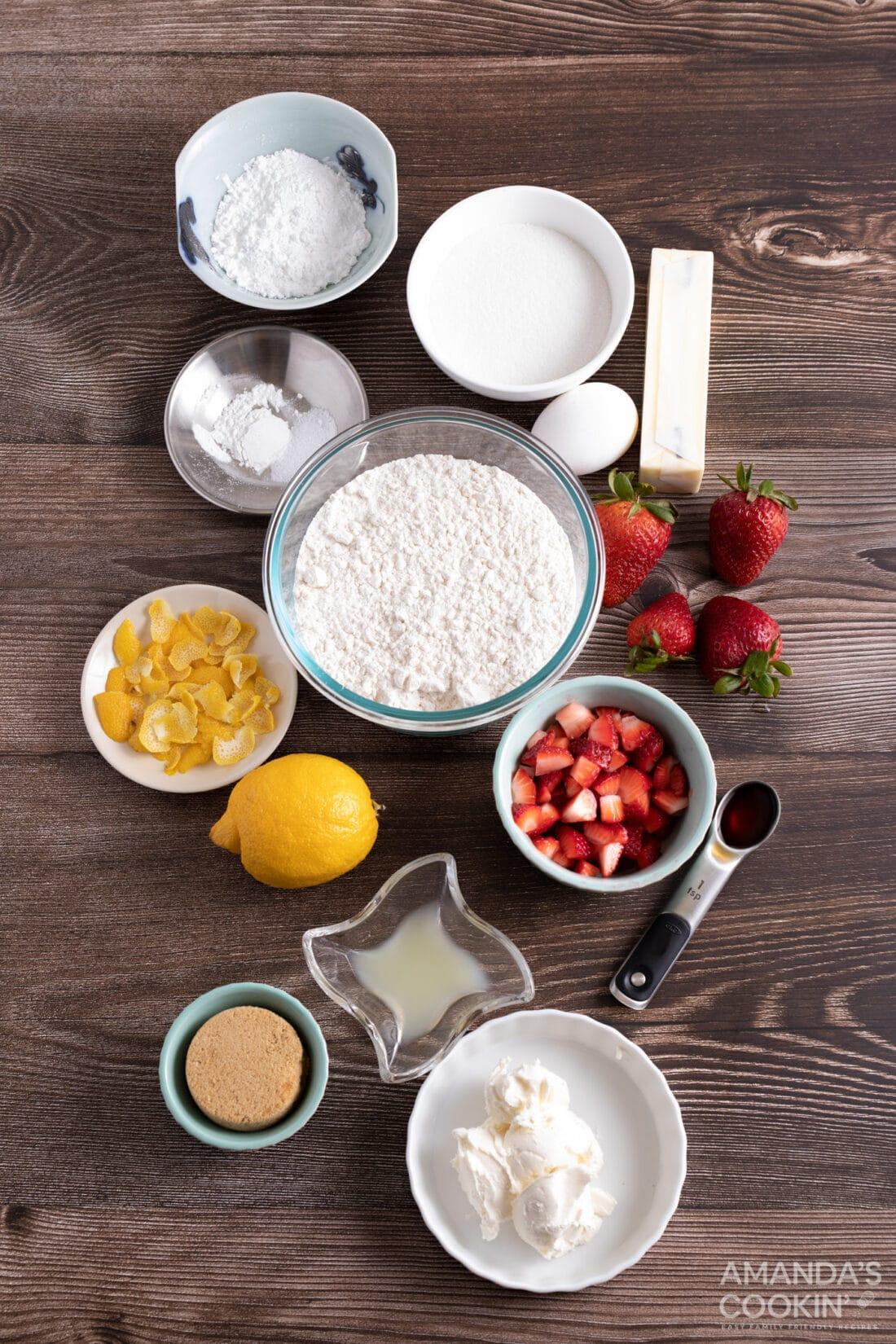 ingredients for Strawberry Lemonade Cookies