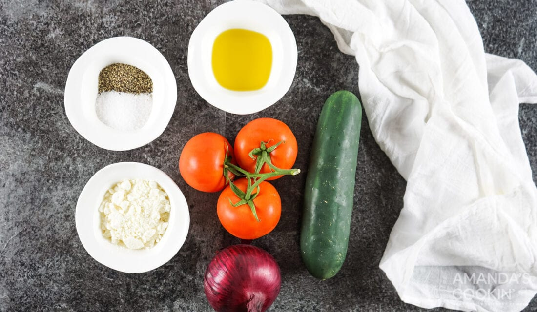 ingredients for Tomato Cucumber Salad with Feta