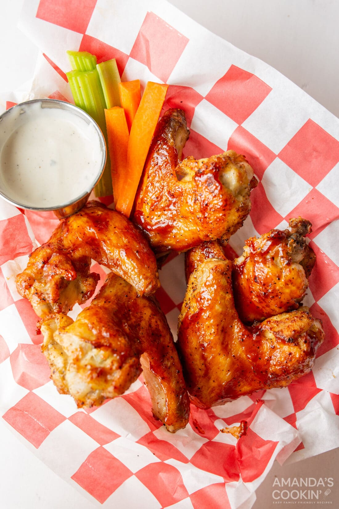 Air Fryer Chicken Wings with barbecue sauce