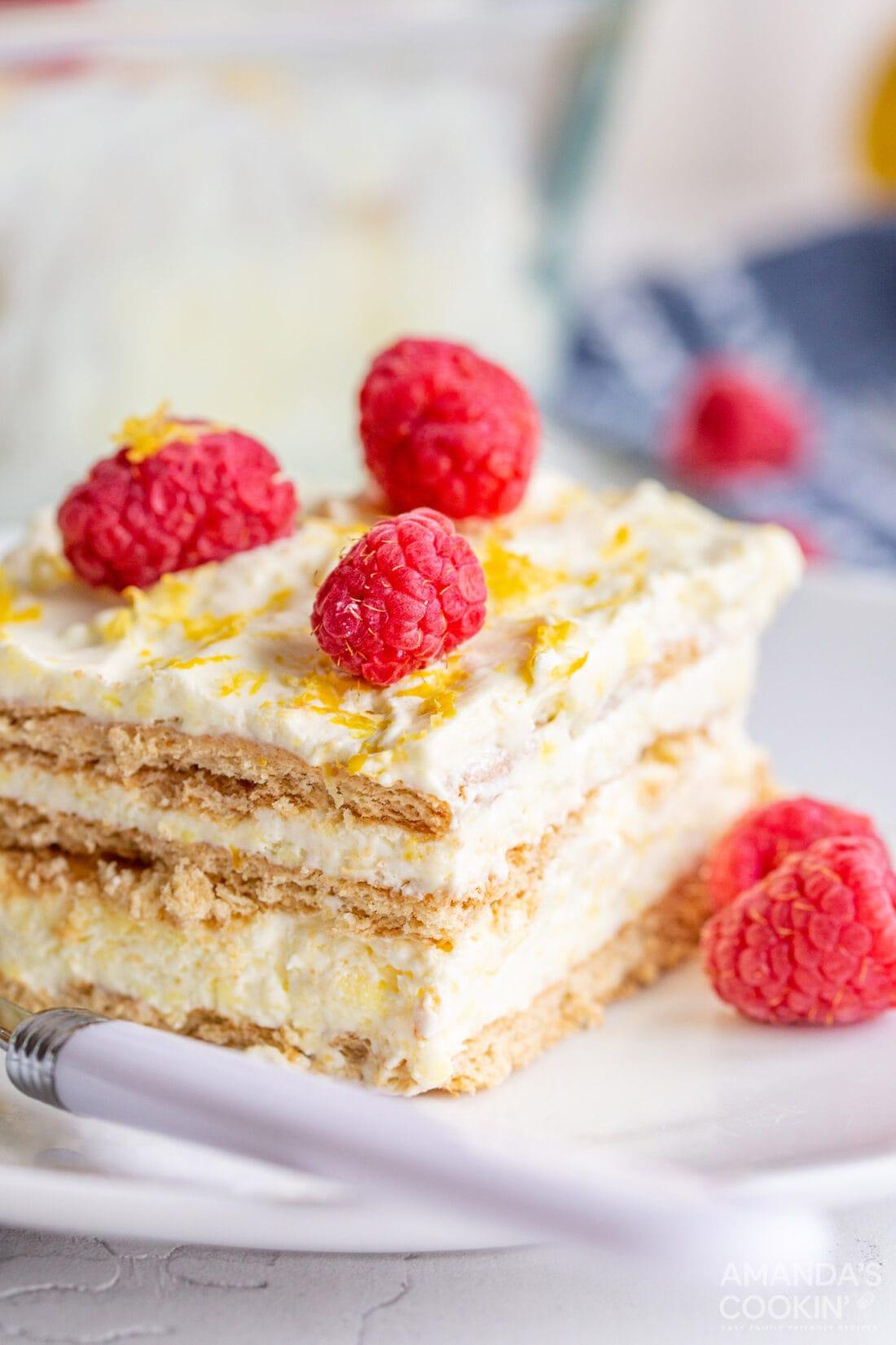 slice of lemon icebox cake