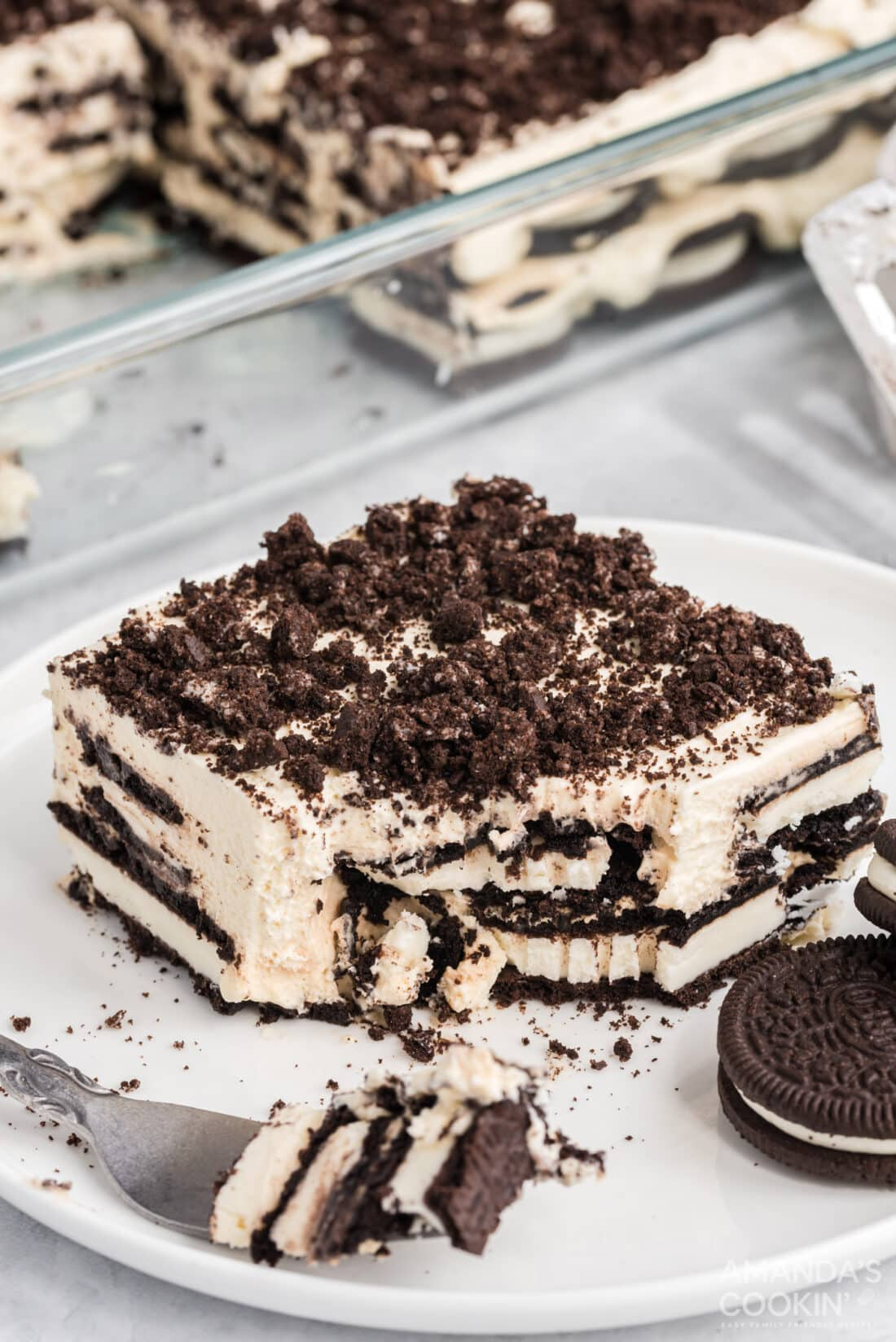 fork and Oreo Icebox Cake on a plate