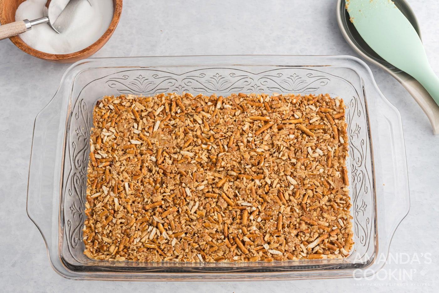 pretzel crust in a baking pan