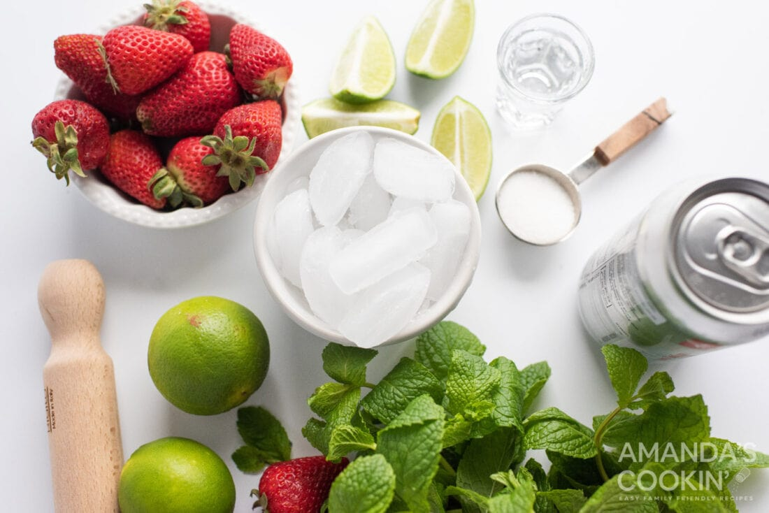 ingredients for Strawberry Mojito