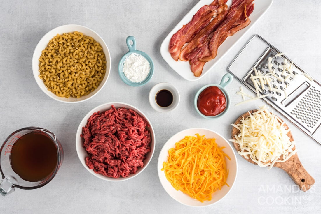 ingredients for bacon cheeseburger casserole