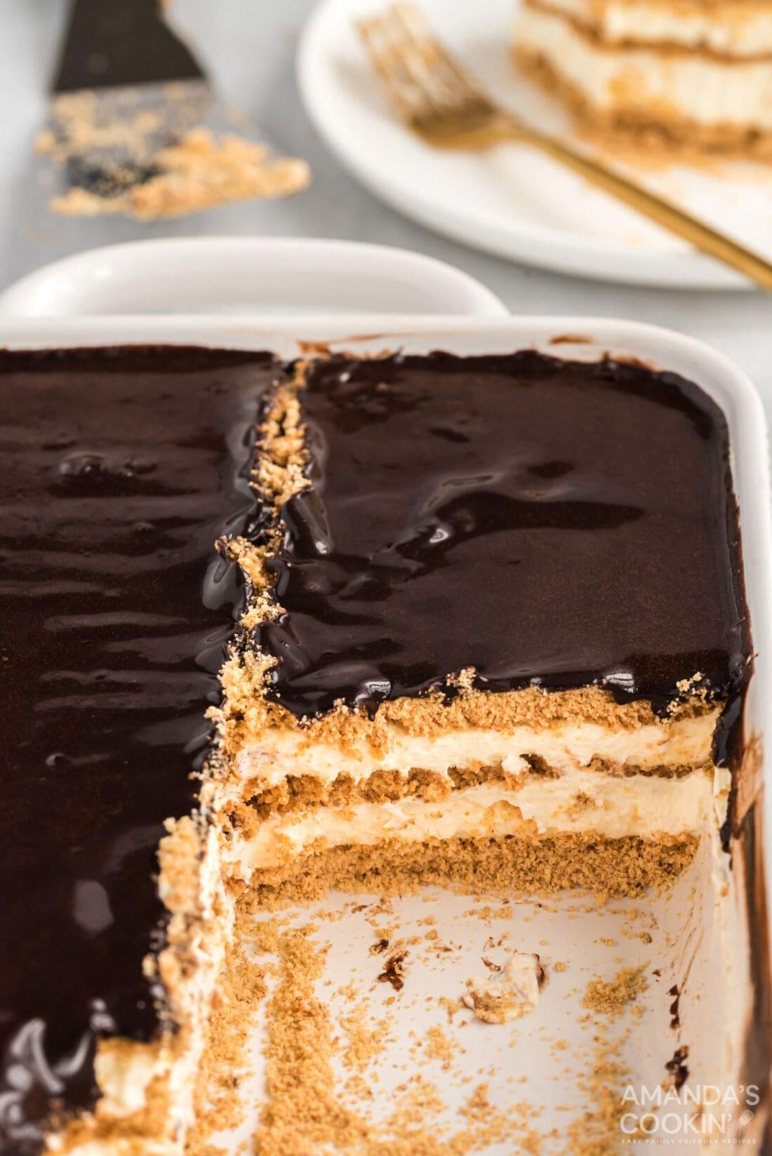 pan of no bake eclair cake