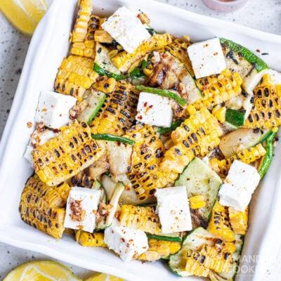 Grilled Corn & Zucchini Salad with Feta