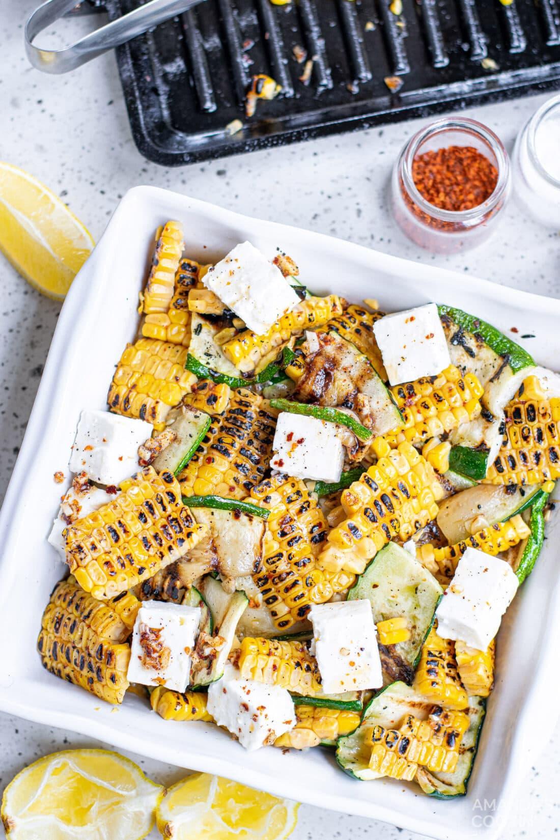 Grilled Corn & Zucchini Salad in a bowl
