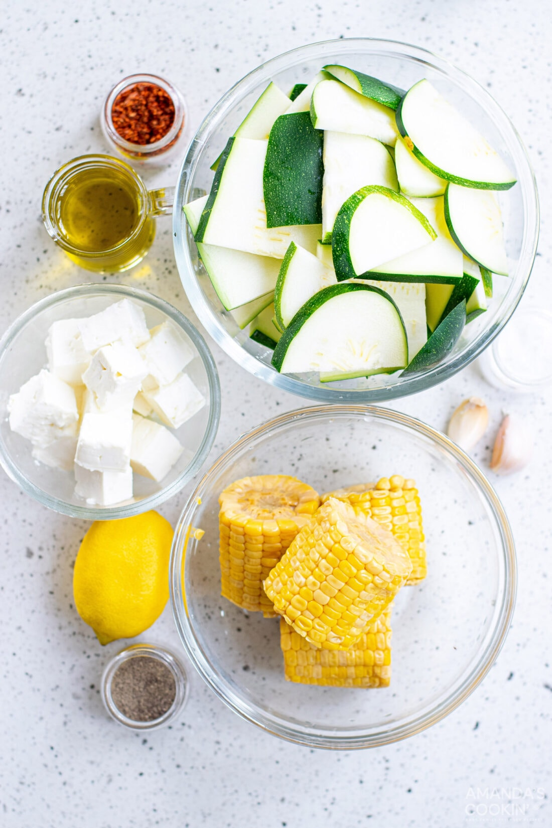 ingredients for Grilled Corn & Zucchini Salad with Feta
