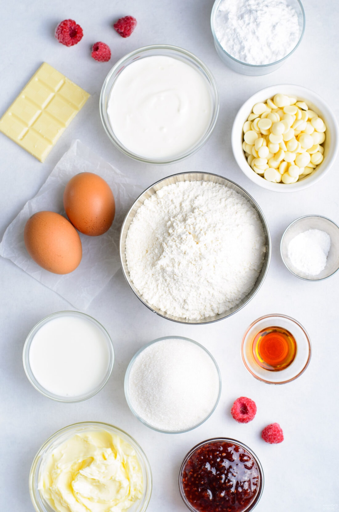 ingredients for making Raspberry White Chocolate Cupcakes
