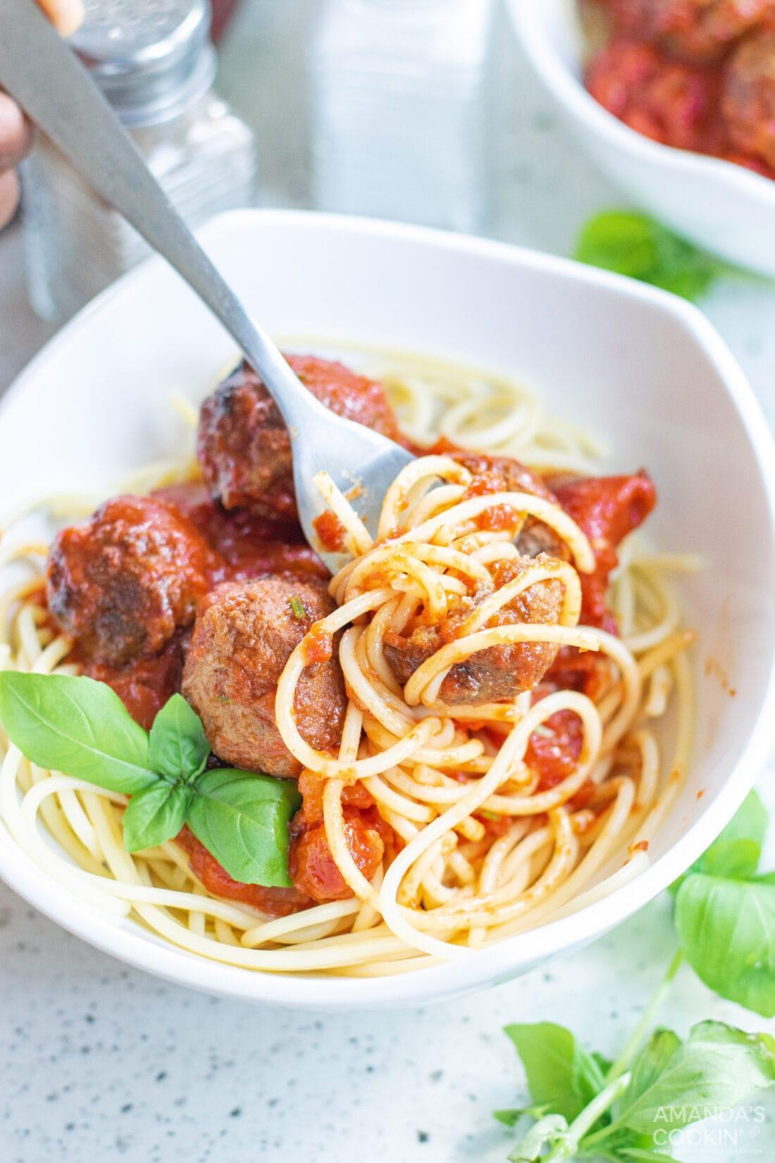 fork in a bowl of Spaghetti & Meatballs in Marinara