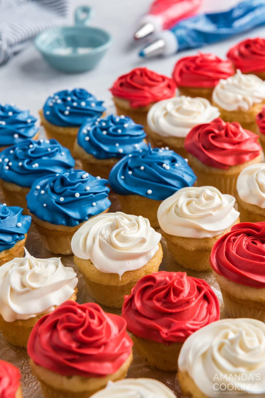 close up American Flag Cupcakes