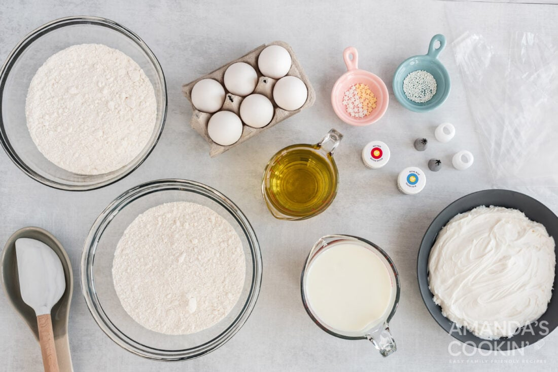 ingredients for American Flag Cupcakes
