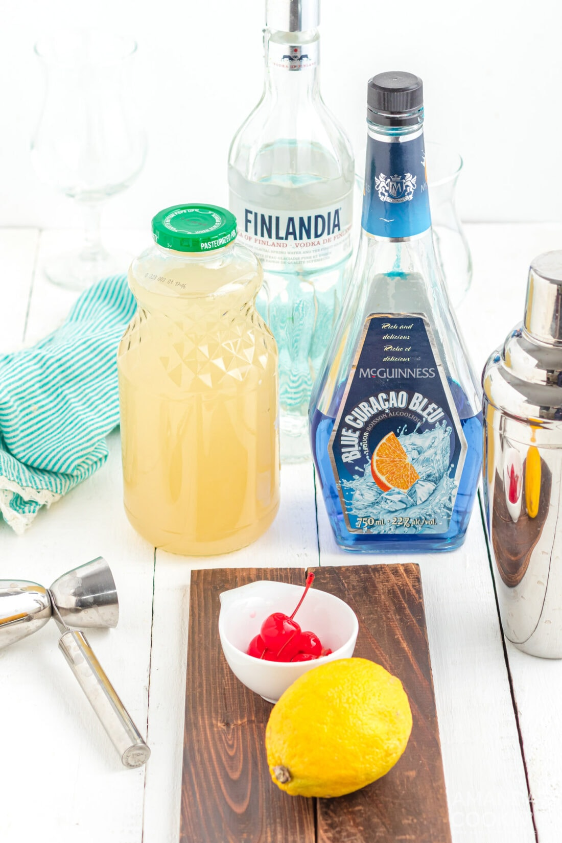 ingredients to make a Blue Lagoon Cocktail