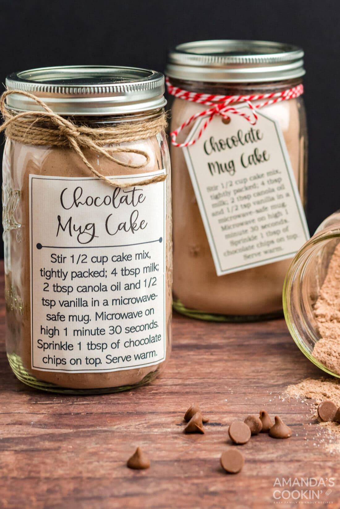 chocolate mug cake in a jar