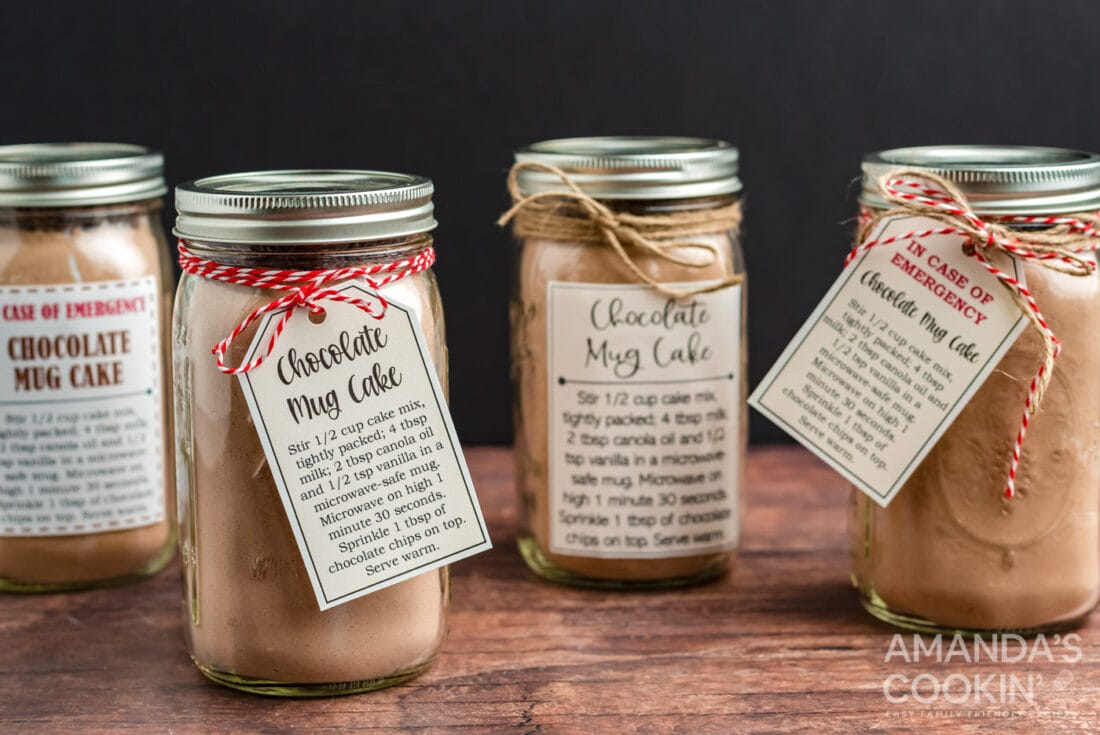 chocolate mug cake in a jar with labels and tags