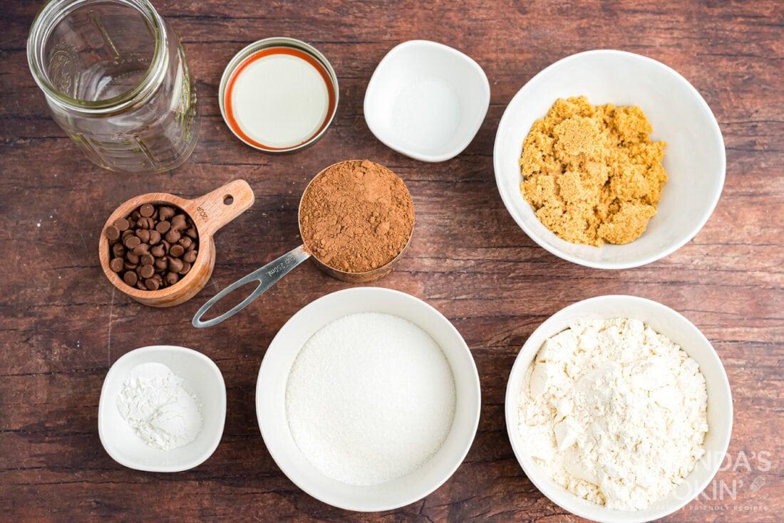 ingredients for chocolate mug cake in a jar