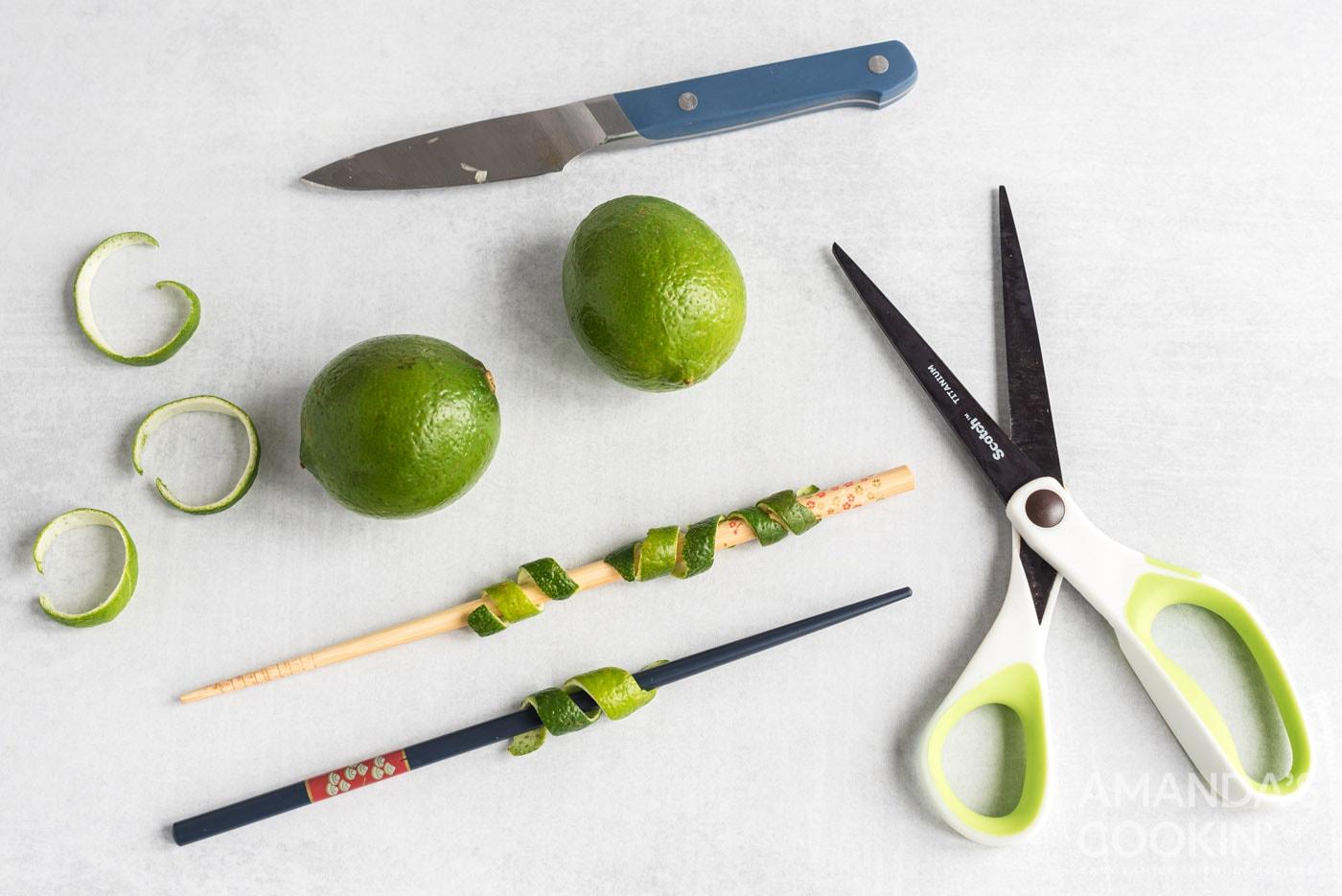 scissors, lime, chopstick