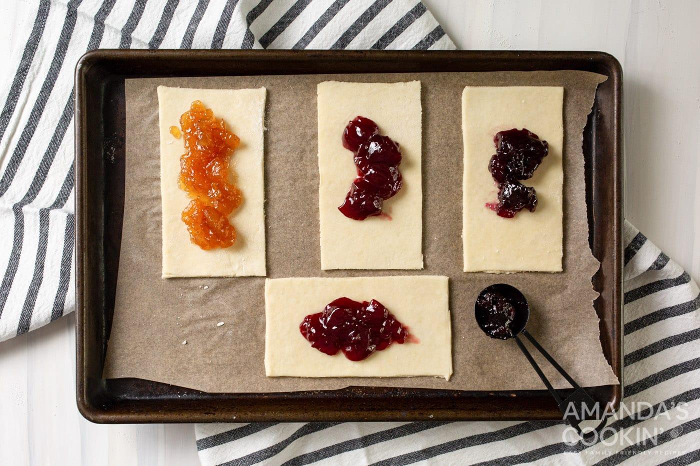 pie dough rectangles with jam