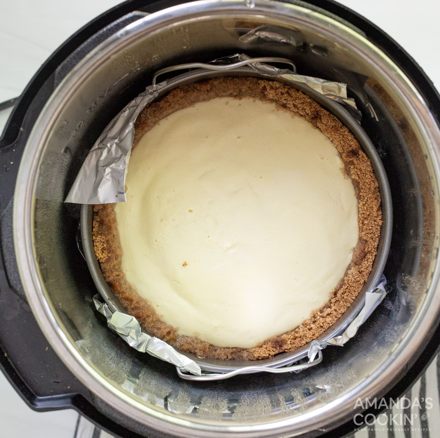 baked cheesecake inside an instant pot