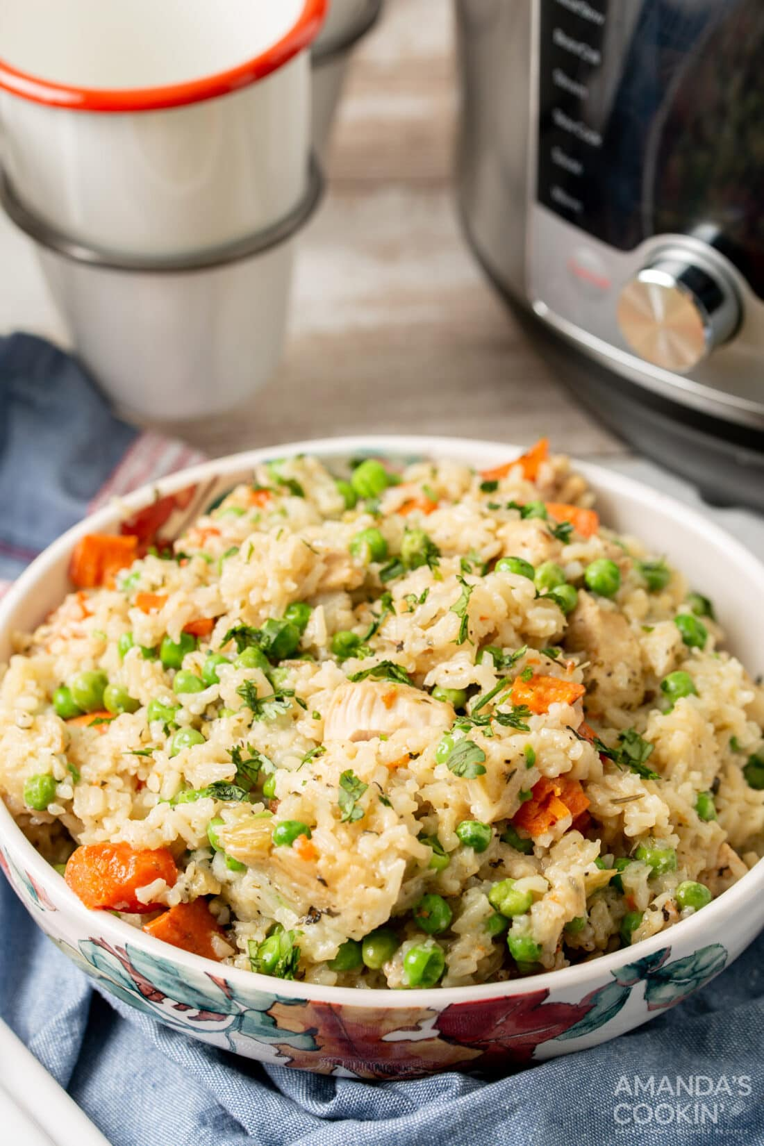 bowl of chicken and rice made in an instant pot