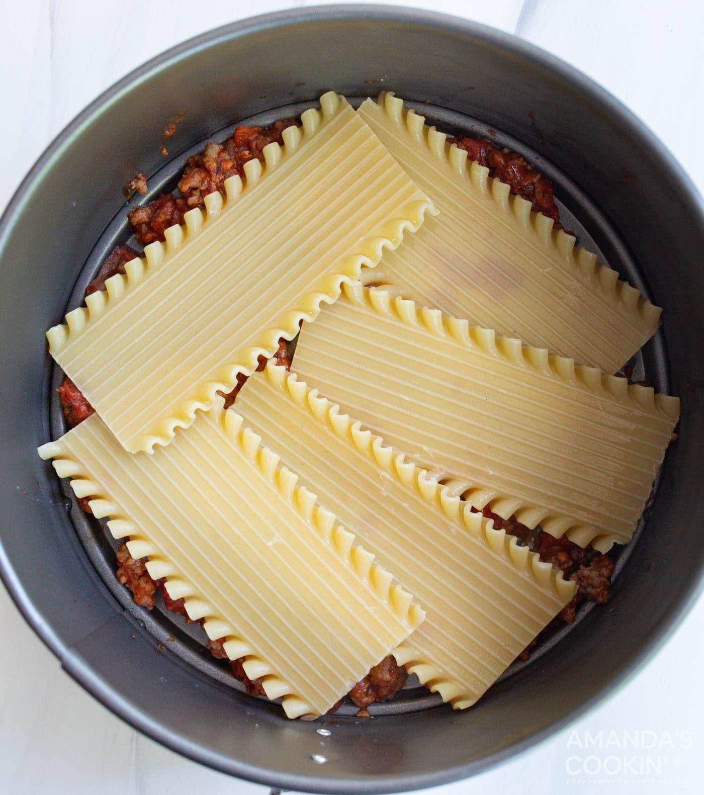 lasagna noodles in springform pan