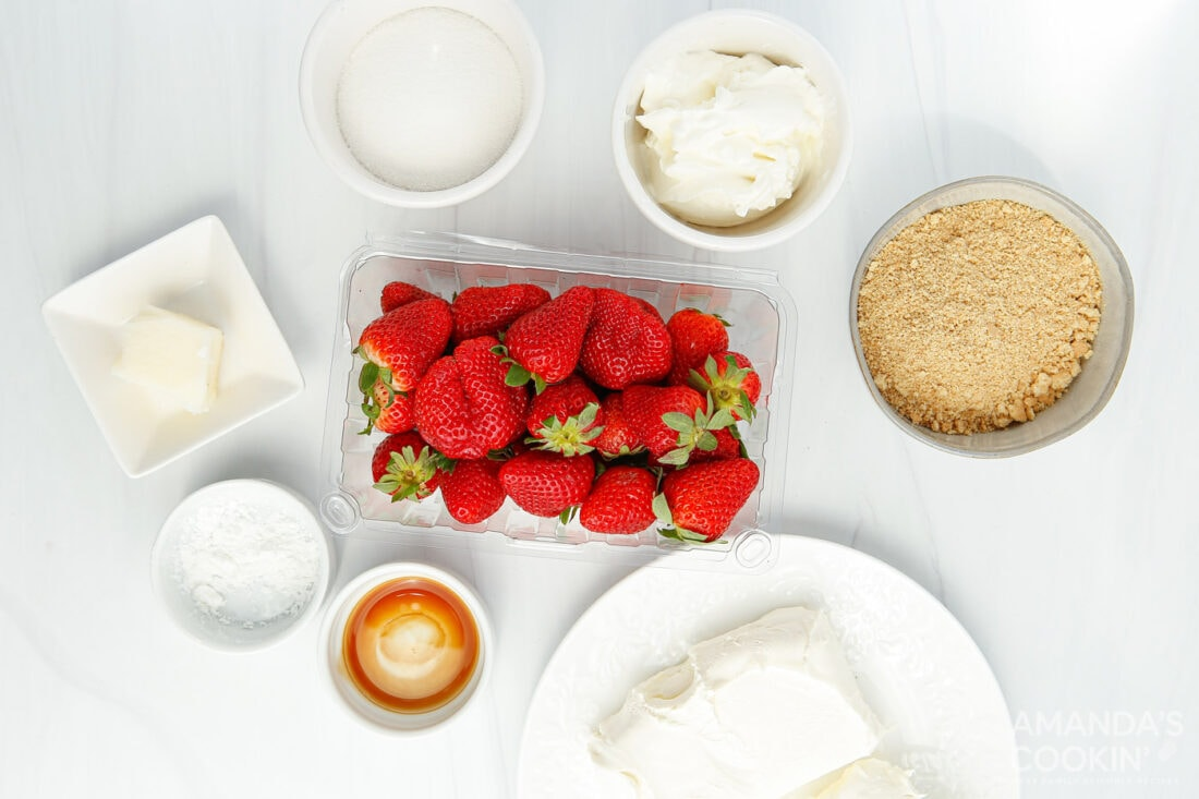 ingredients you need to make Instant Pot Strawberry Cheesecake
