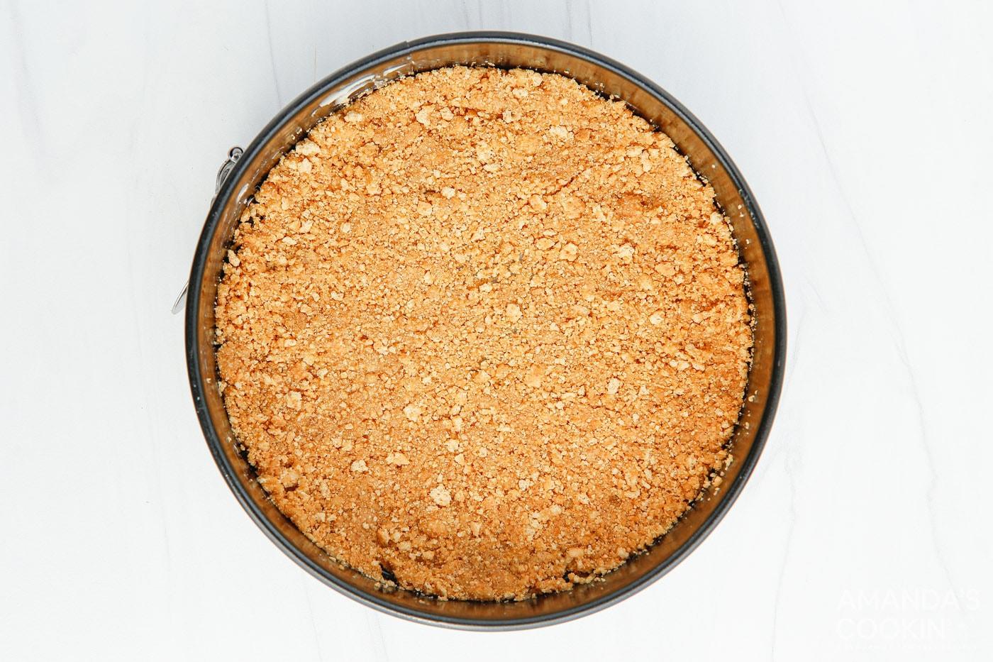graham cracker crust in springform pan