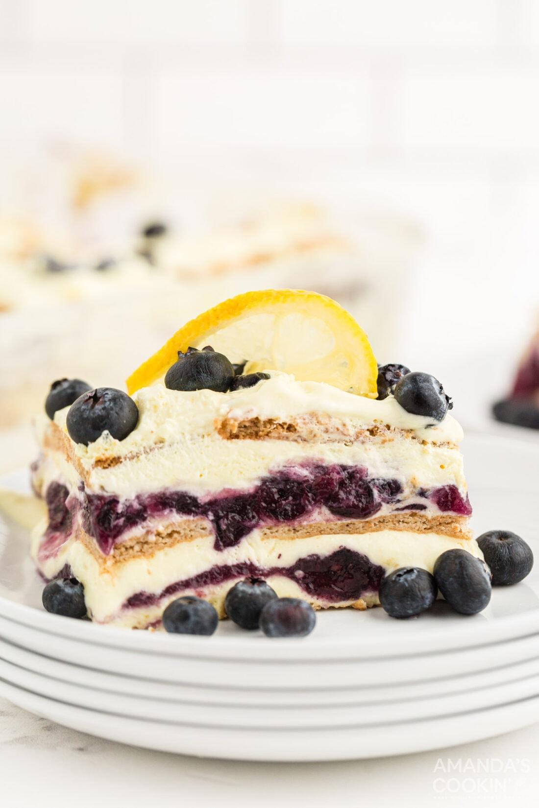 slice of Lemon Blueberry Icebox Cake