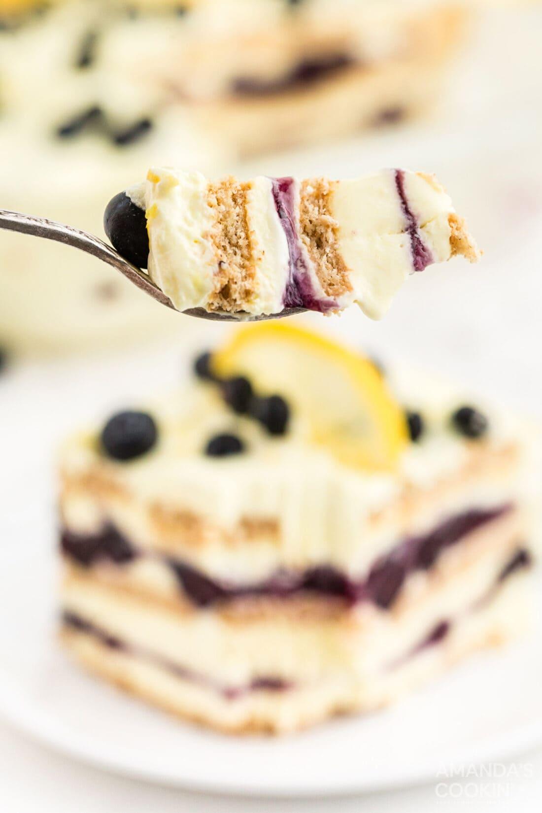 fork of Lemon Blueberry Icebox Cake