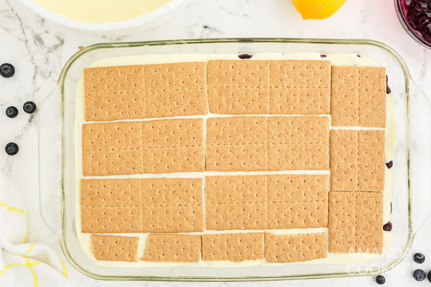 graham crackers on top of pudding mix