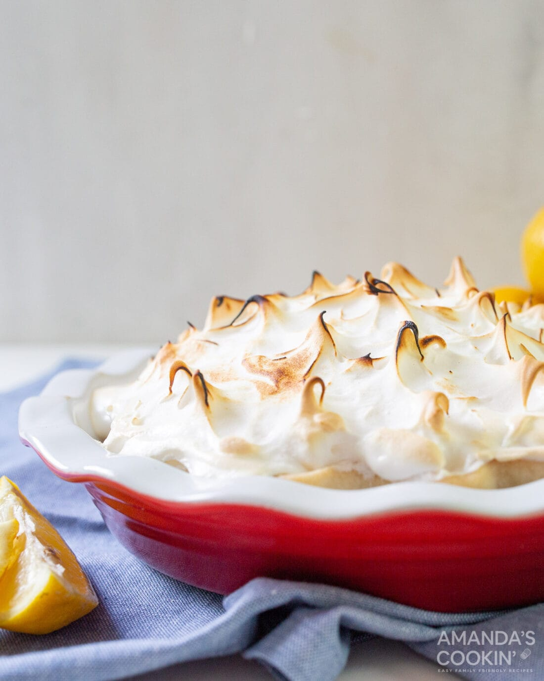 lemon meringue pie with browned swirled tops