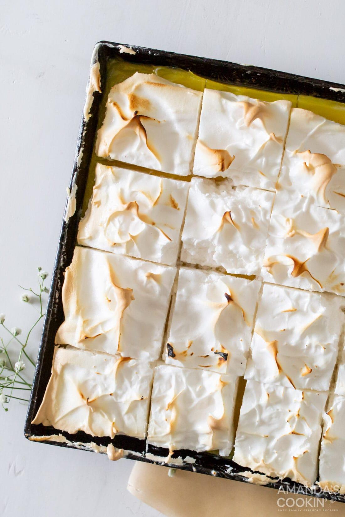 pan of Lemon Meringue Pie Bars cut into squares
