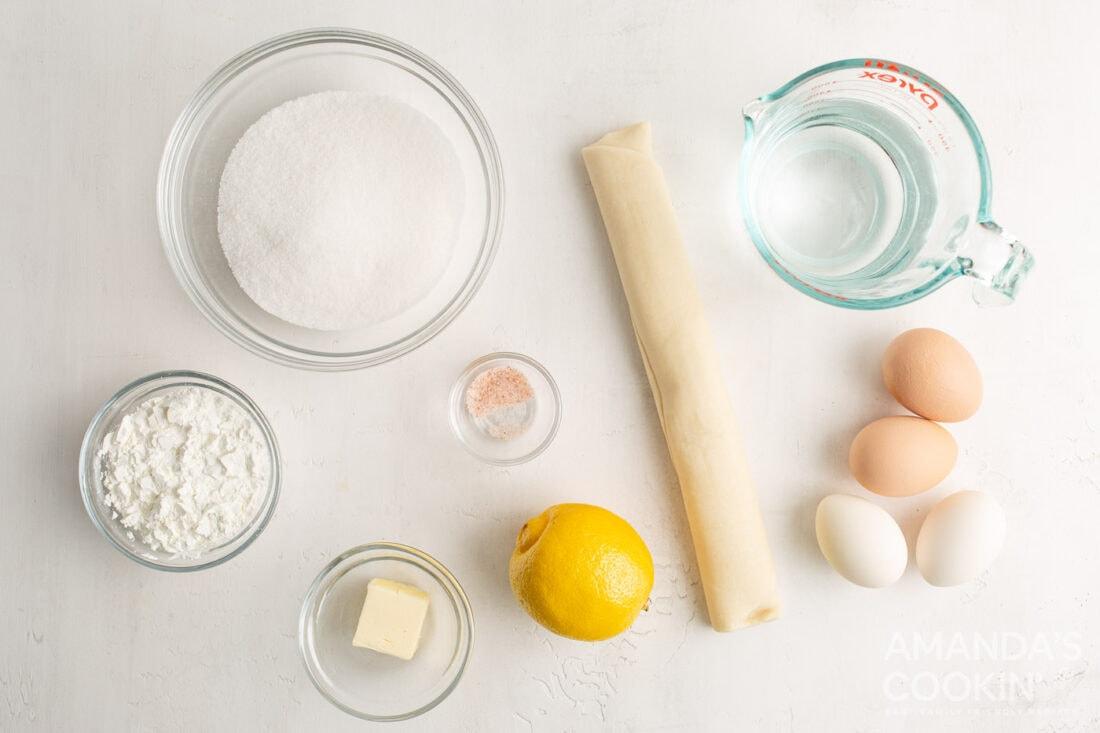 ingredients for Lemon Meringue Pie Bars