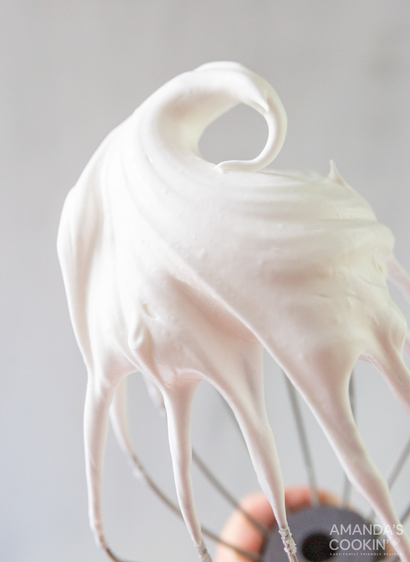 meringue on a beater whisk