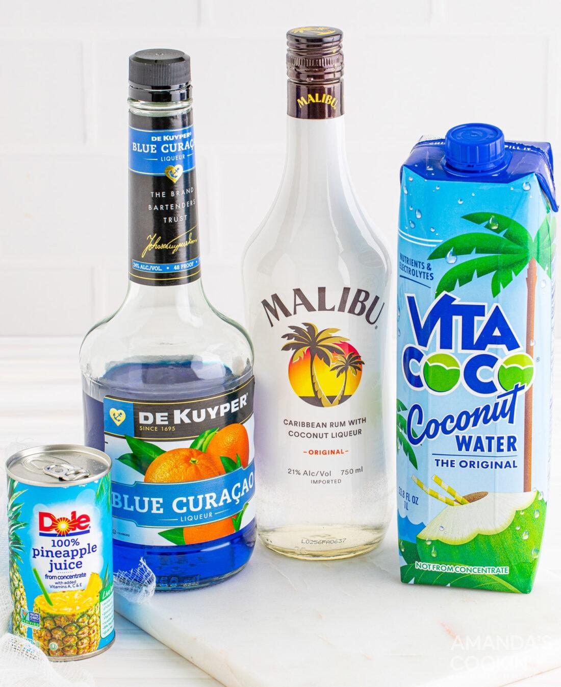 ingredients for Ocean Water Cocktail