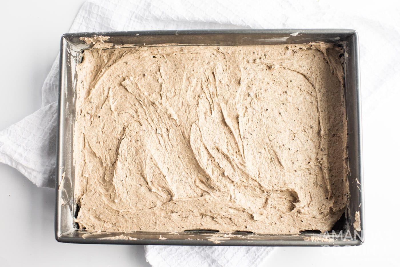oreo cake batter in a pan