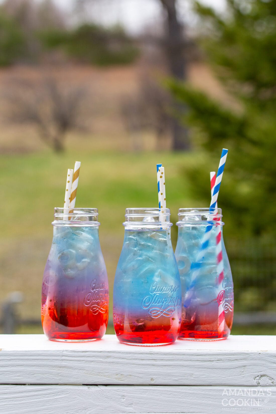 jars of red white and blue drink
