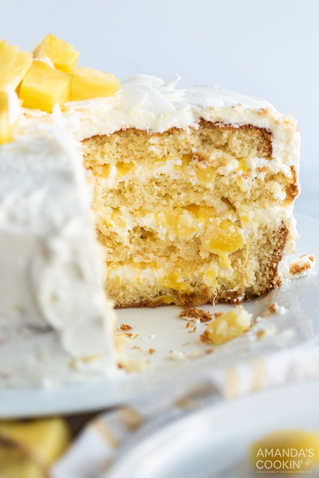 Pineapple Cake with a slice removed