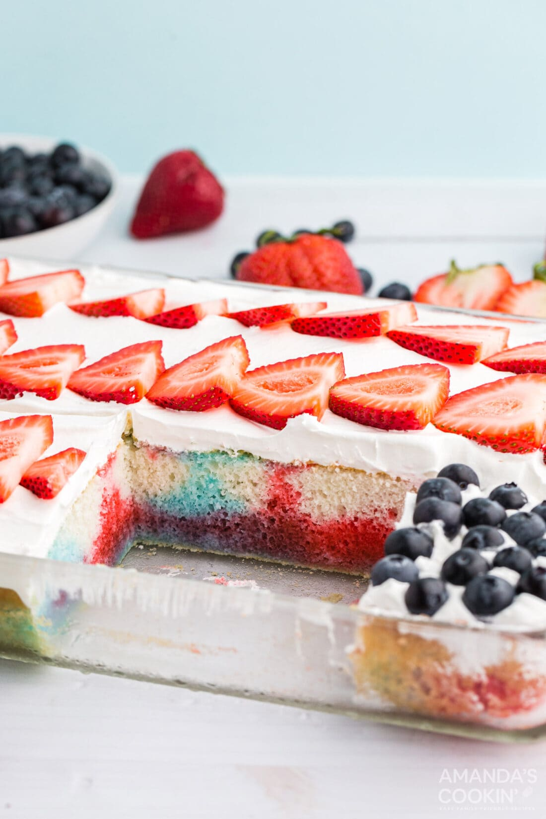 us flag poke cake with a slice removed