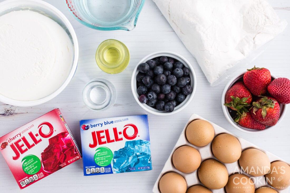 ingredients you need for patriotic american flag poke cake