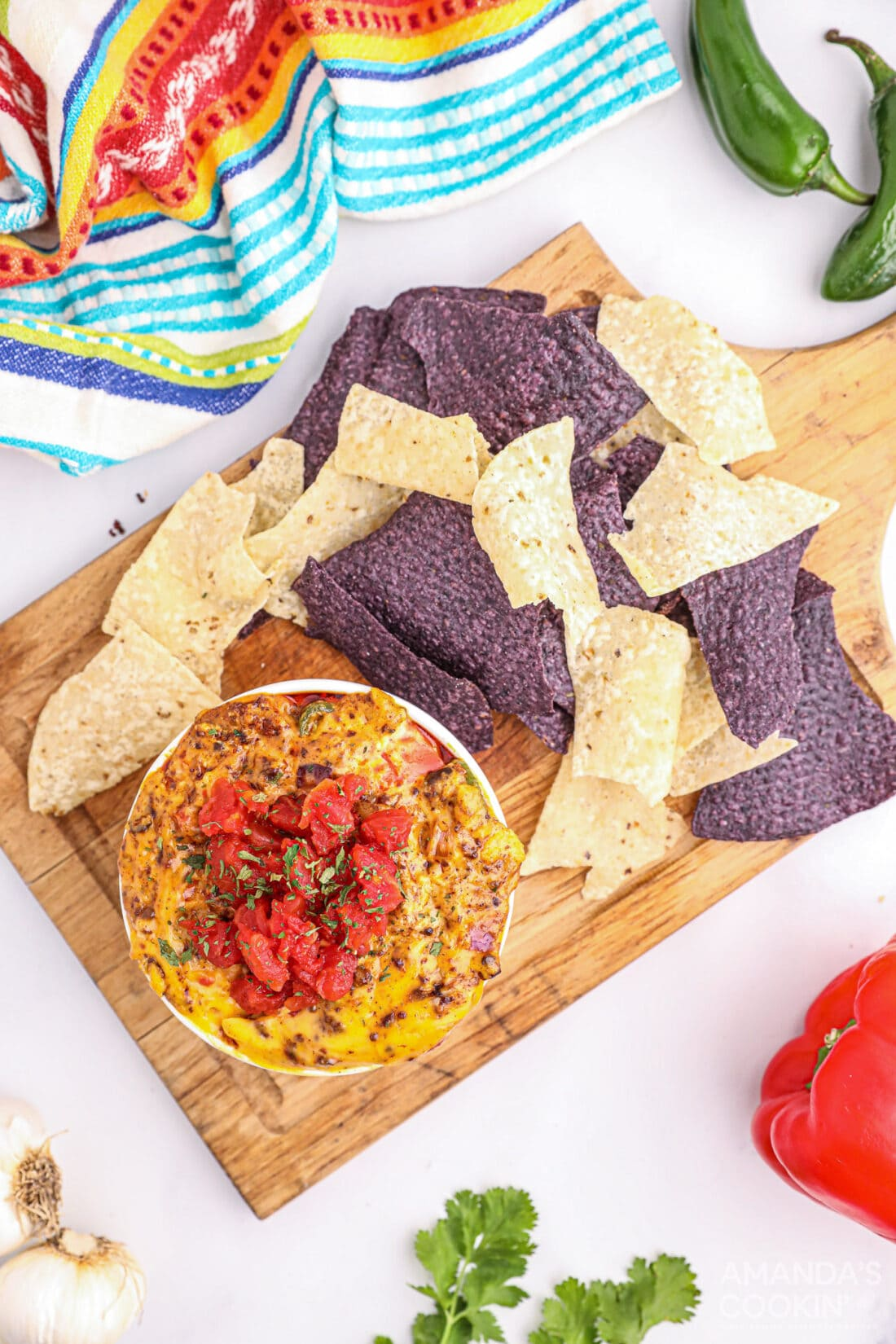 Smoked Queso Dip in bowl with chips