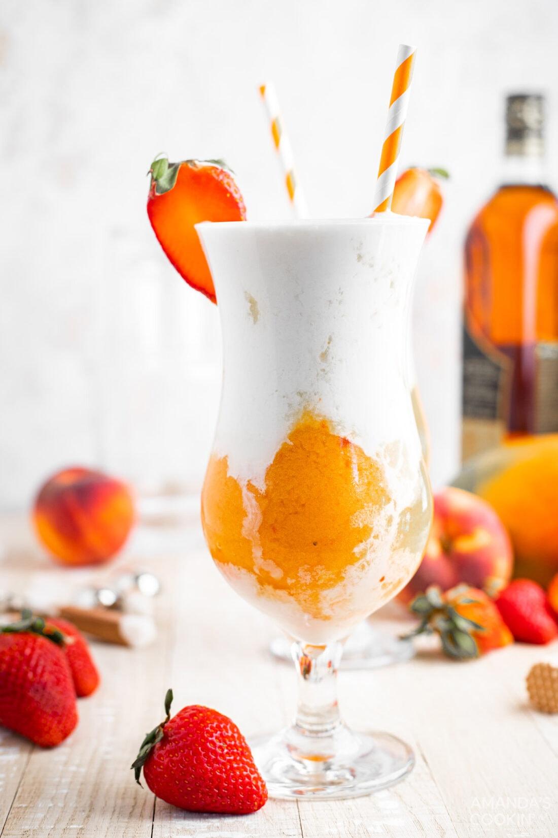 Tropical Rum Slush with straws