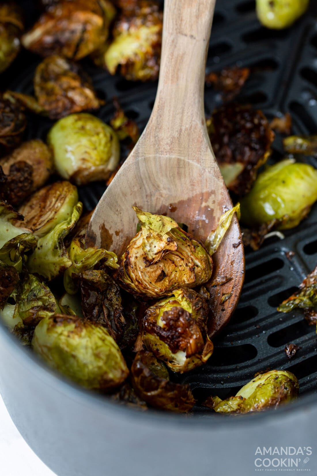 spoon of Air Fryer Brussels Sprouts