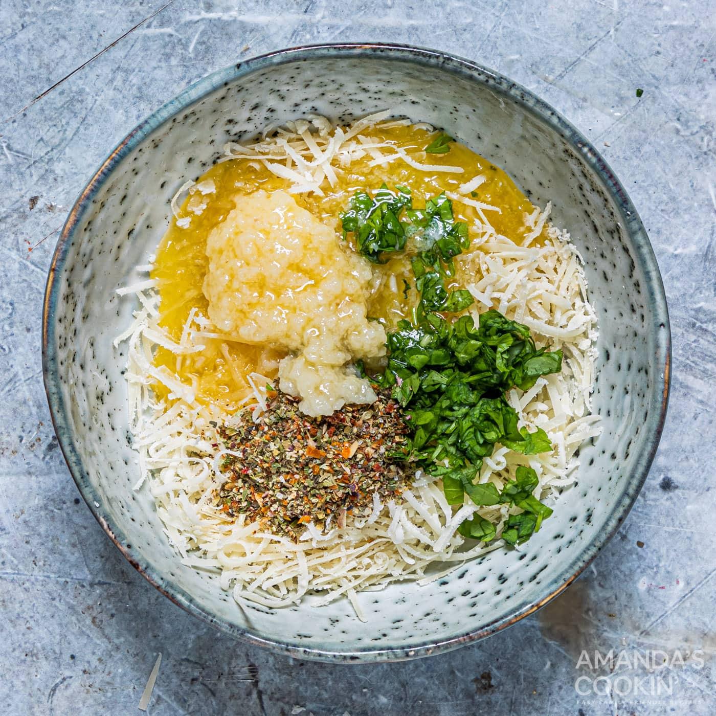 garlic butter ingredients in bowl