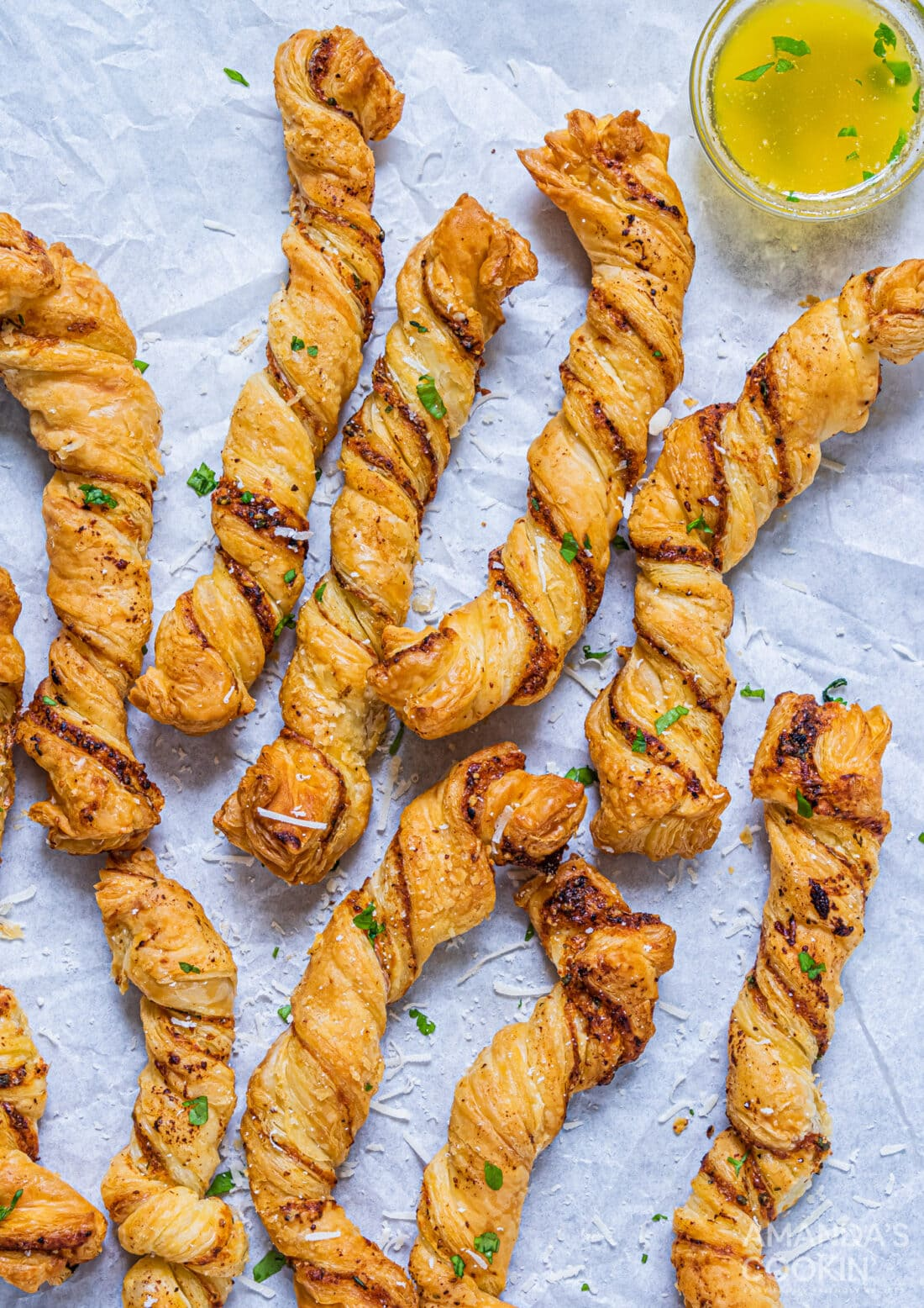 Air Fryer Garlic Parmesan Bread Twists