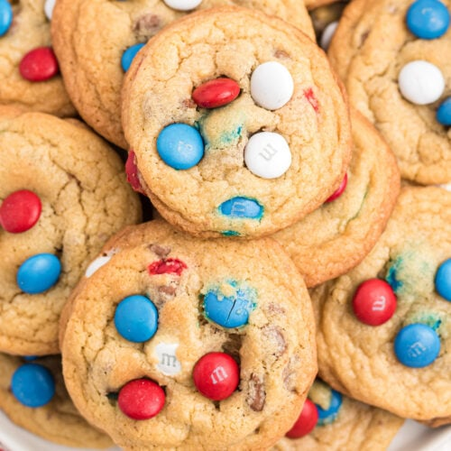 red white and blue m&m cookies