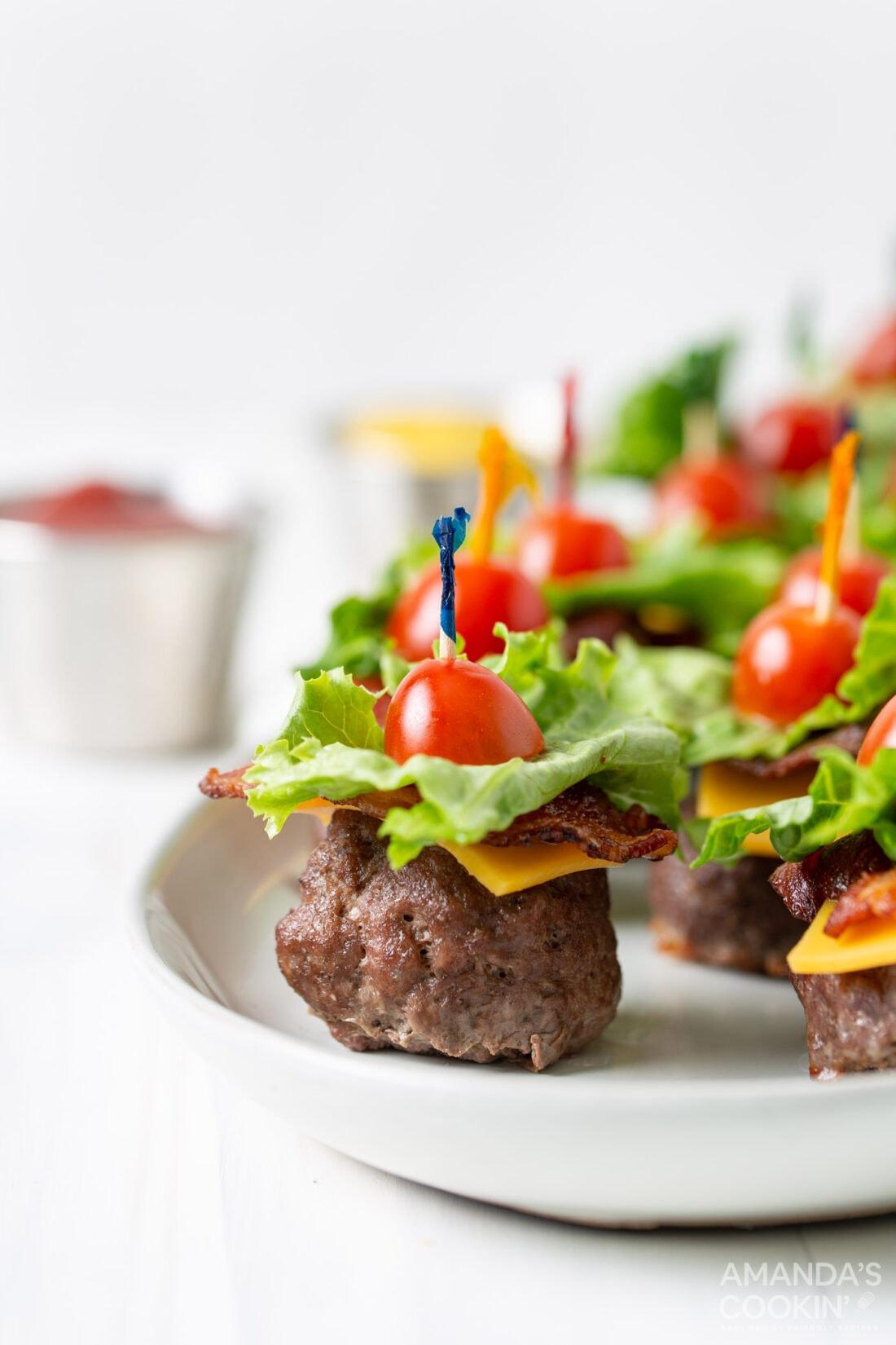 plate of Bacon Cheeseburger Meatballs