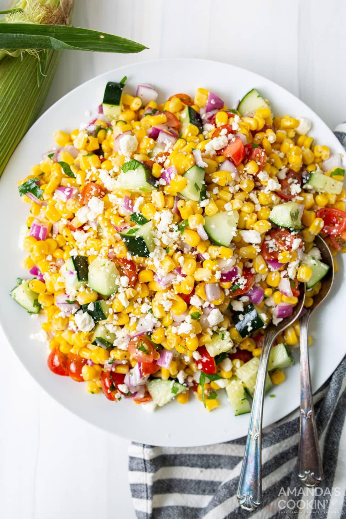 plate of corn salad