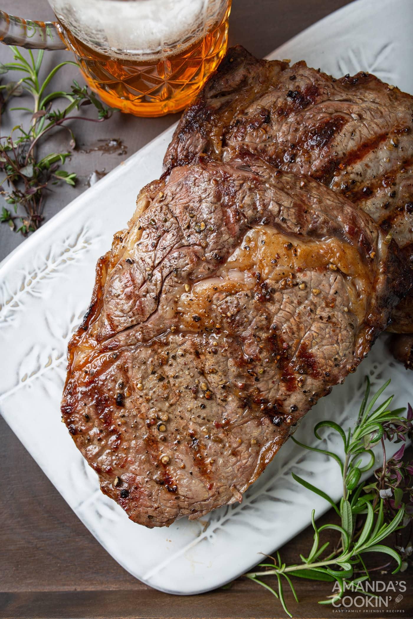 ribeye steak with salt and pepper