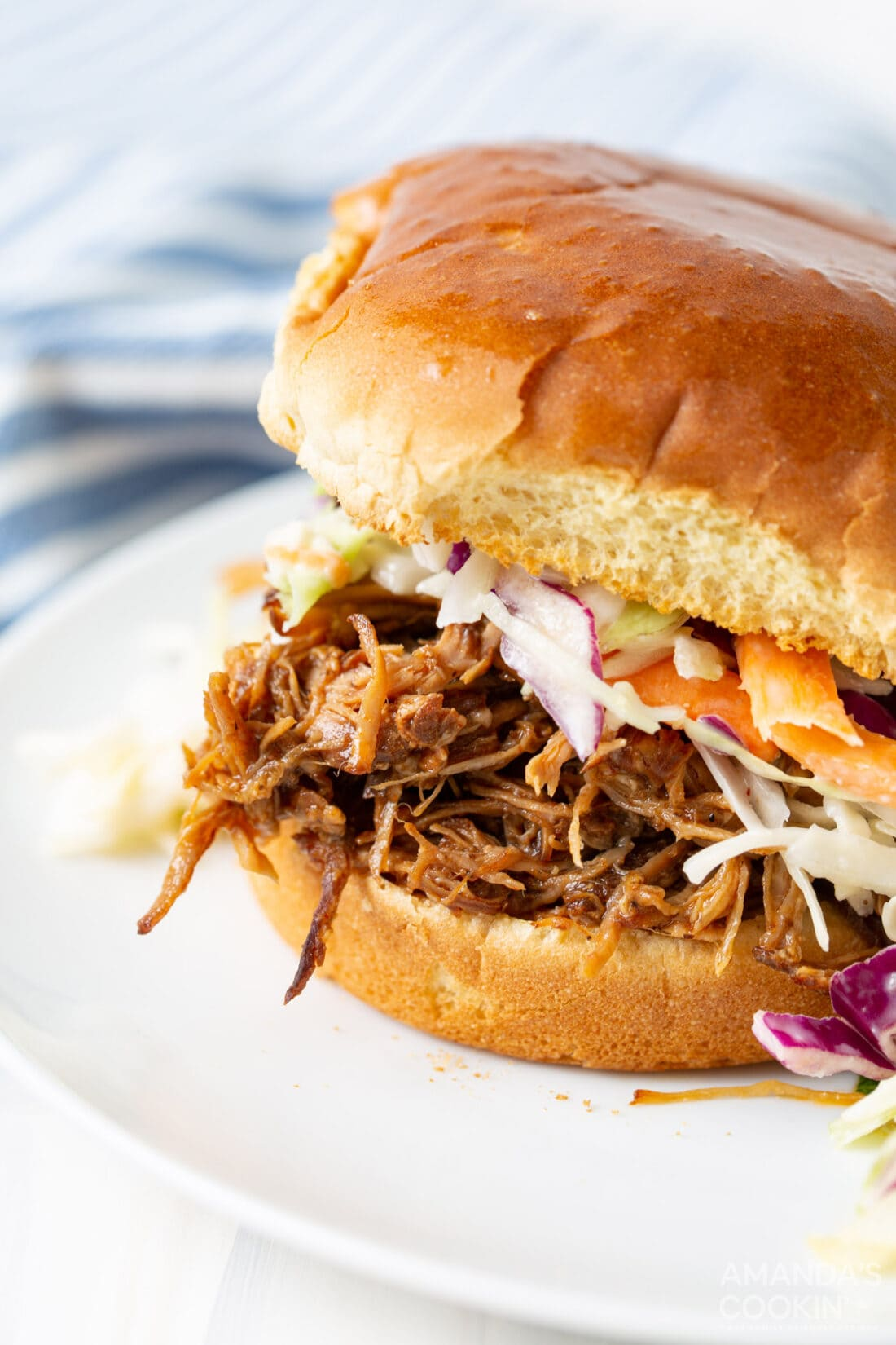 Instant Pot Pulled Pork sandwich with coleslaw